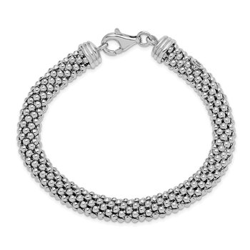 Sterling Silver Polished Rhodium-plated 8MM Bracelet