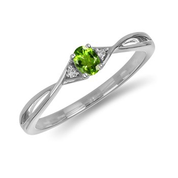 10K WG and diamond and Peridot infinity style birthstone ring