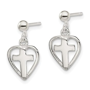Sterling Silver Cross in Heart Earrings