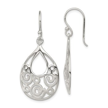 Sterling Silver Polished Oval Filigree Dangle Earrings