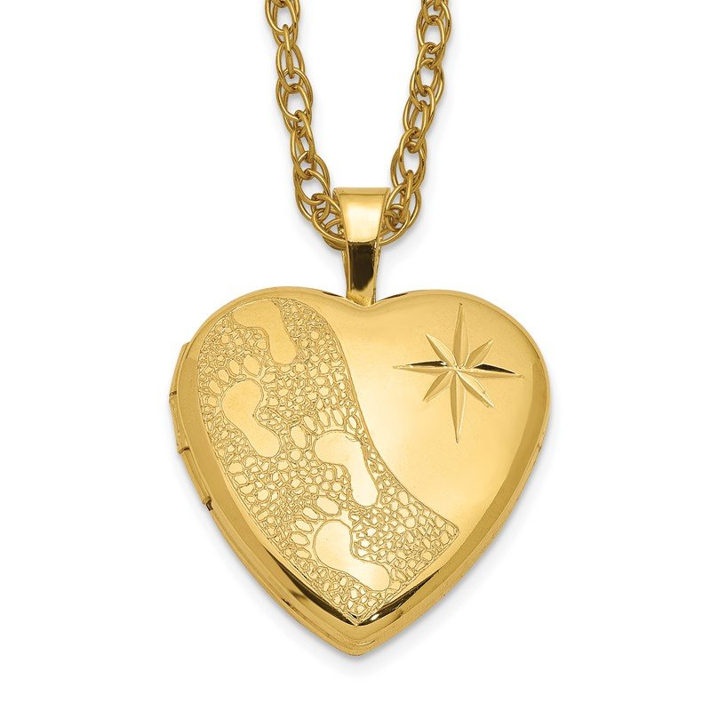 Quality Gold 1/20 Gold Filled 16mm Footprints Heart Locket Necklace
