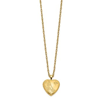 1/20 Gold Filled 16mm Footprints Heart Locket Necklace