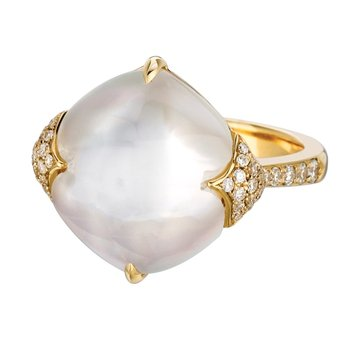 White Orchid Mother of Pearl Ring