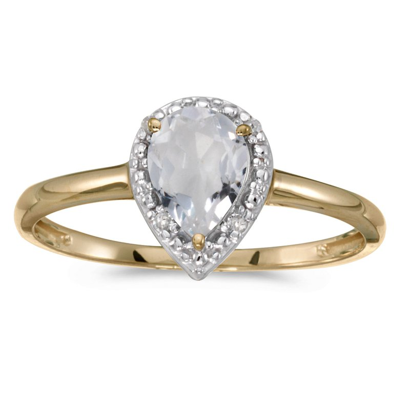 Color Merchants 10k Yellow Gold Pear White Topaz And Diamond Ring
