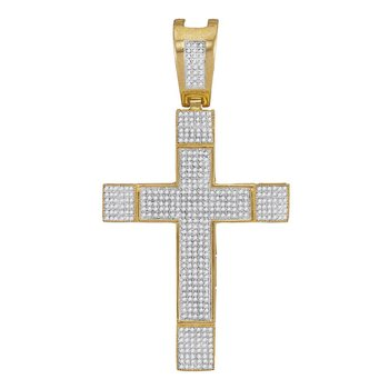 10kt Yellow Gold Mens Round Diamond Roman Cross Charm Pendant 1-3/8 Cttw