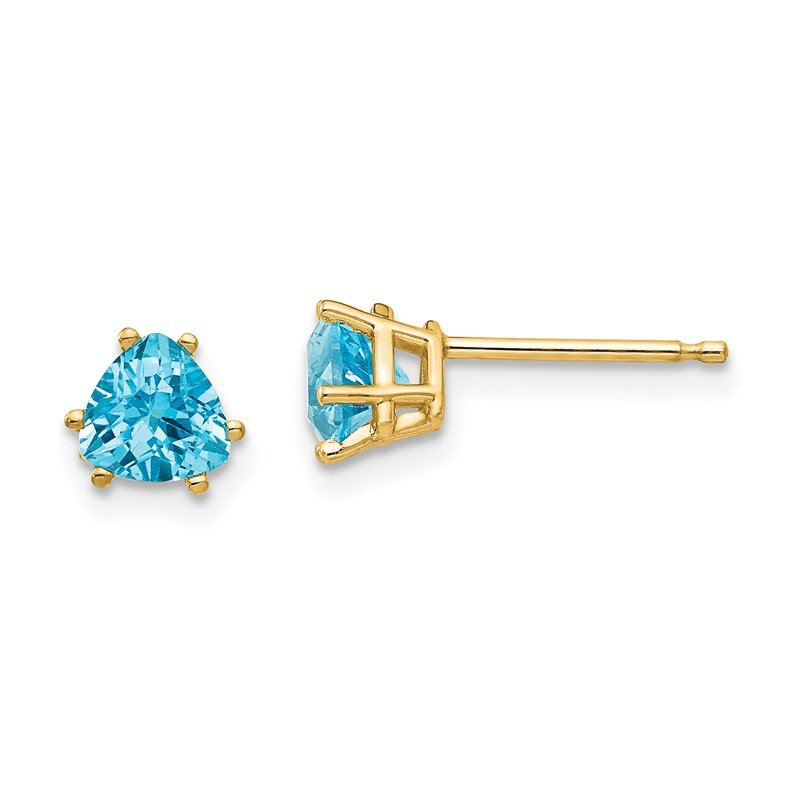 Quality Gold 14k 5mm Trillion Blue Topaz Earrings