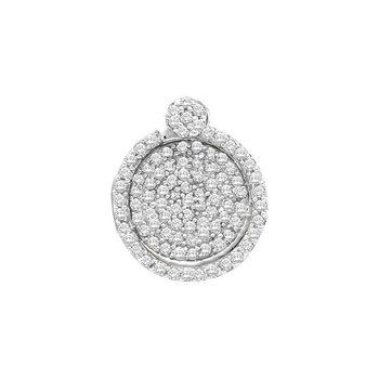 10kt White Gold Womens Round Pave-set Diamond Circle Frame Cluster Pendant 1/3 Cttw