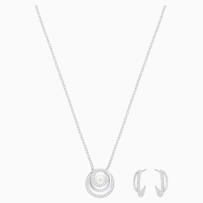 Swarovski Free Pearl Set, White, Rhodium plated