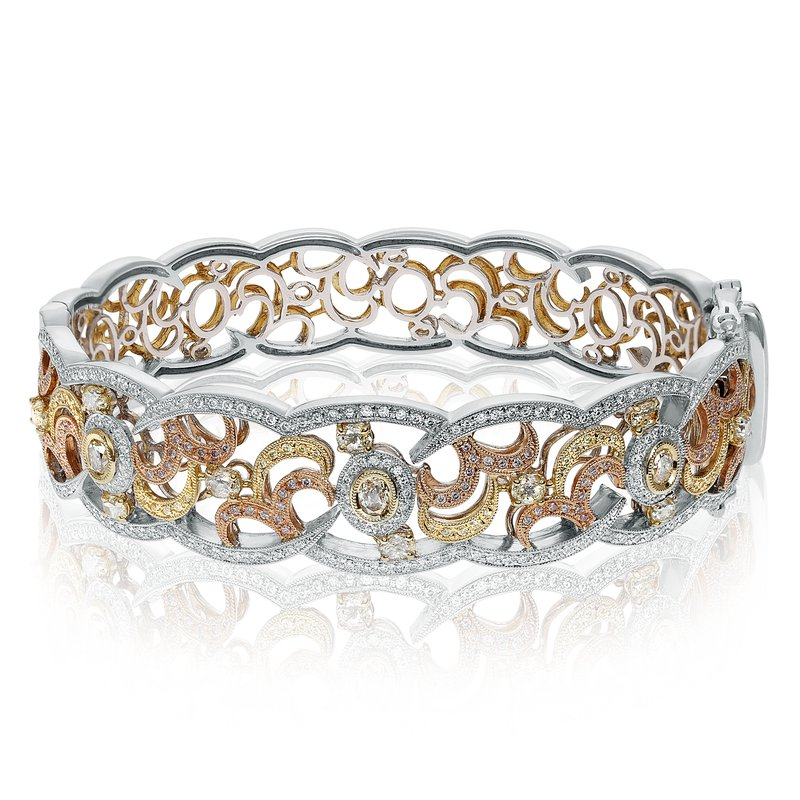 Roman & Jules Tri-Colored Filigree Diamond Bangle