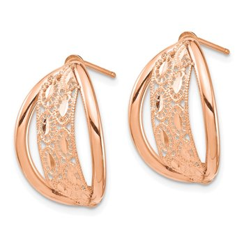 14k Rose Gold Polished & Diamond-cut Post Dangle Earrings