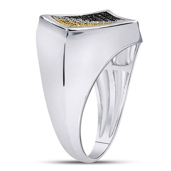 Sterling Silver Mens Round Black Yellow Color Enhanced Diamond Diagonal Square Ring 1/3 Cttw