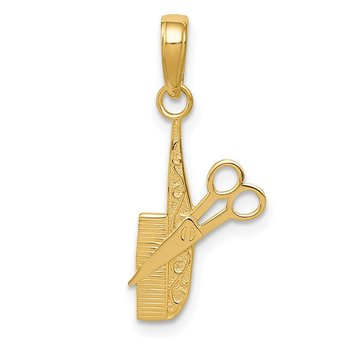 14k Comb and Scissors Charm