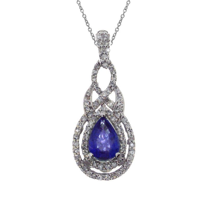 Color Merchants 14k White Gold Pear Sapphire Diamond Pendant