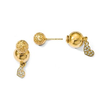 Leslie's Sterling Silver Gold-plated CZ Heart Front and Back Earrings