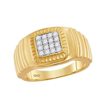 10kt Yellow Gold Mens Round Diamond Square Cluster Ribbed Accent Ring 1/2 Cttw