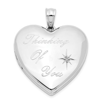 Sterling Silver Rhodium-plate Thinking of.. Diamond Ash Holder Heart Locket