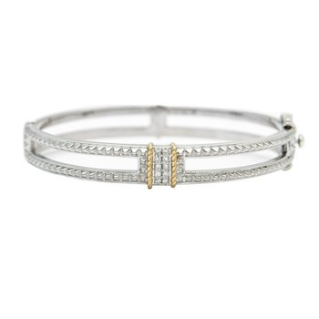18kt and Sterling Silver Diamond Bangle