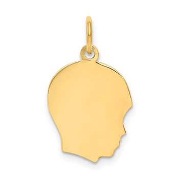 14k Plain Medium .018 Gauge Facing Right Engravable Boy Head Charm