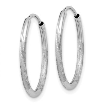 14k White Gold 1.5mm Diamond-cut Endless Hoop Earrings