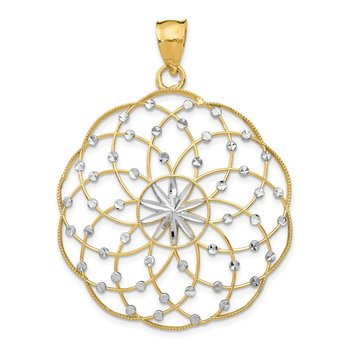 14k Rhodium Diamond Cut Sphere Pendant