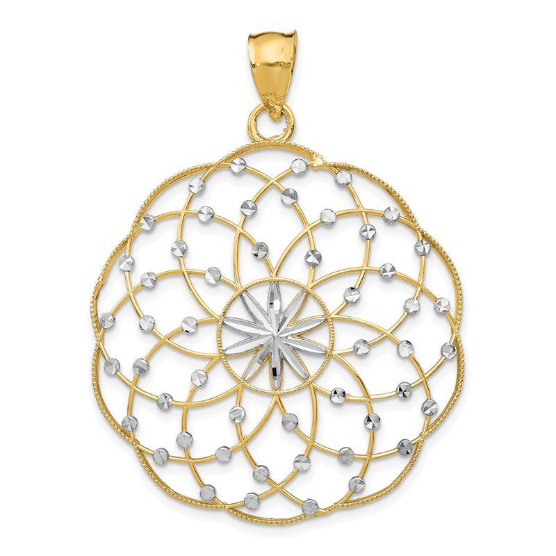 Quality Gold 14k Rhodium Diamond Cut Sphere Pendant
