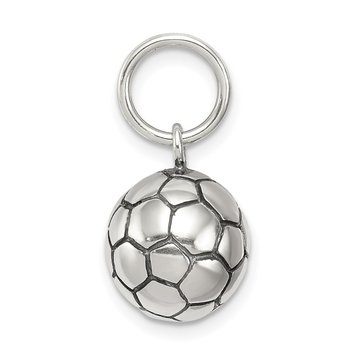 Sterling Silver Antique Soccer Ball Charm