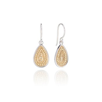 Dotted Teardrop Earrings - Gold