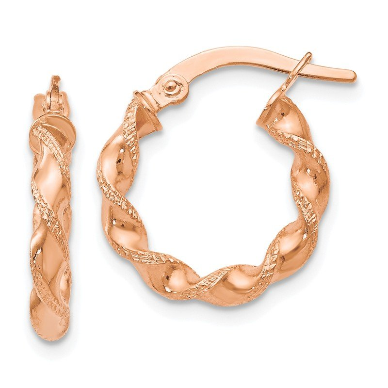 Leslie's Leslie's 14K Rose Gold Twisted Hoop Earrings