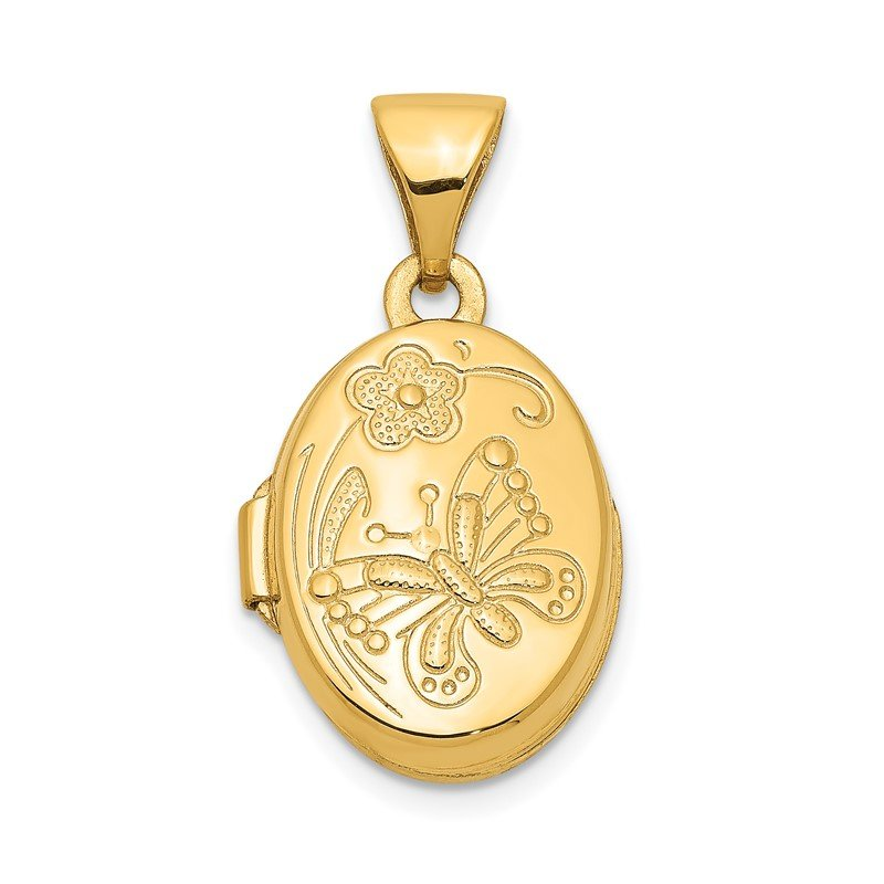 Quality Gold 14k Floral & Butterfly Locket