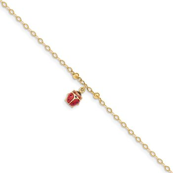 14K Adjustable Enameled Ladybug 9in Plus 1in ext. Anklet
