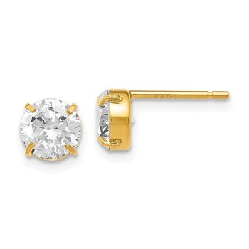 Leslies 14k CZ Stud 6.0mm Earrings