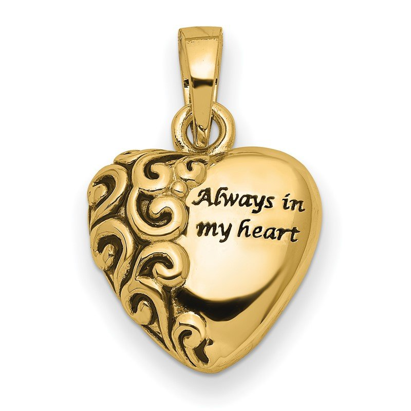 Quality Gold 14K Heart Remembrance Ash Holder Pendant