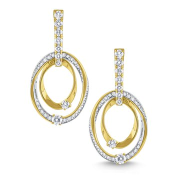 Diamond Double Ring Earrings Set in 14 Kt. Gold
