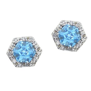 14k White Gold Blue Topaz Hexagonal Earrings