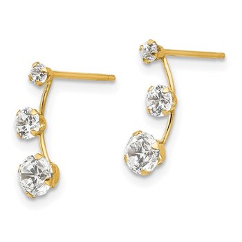14k Madi K Curved 3-Stone CZ Post Earrings