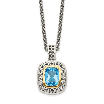 Sterling Silver w/14k Antiqued Light Swiss Blue Topaz Necklace