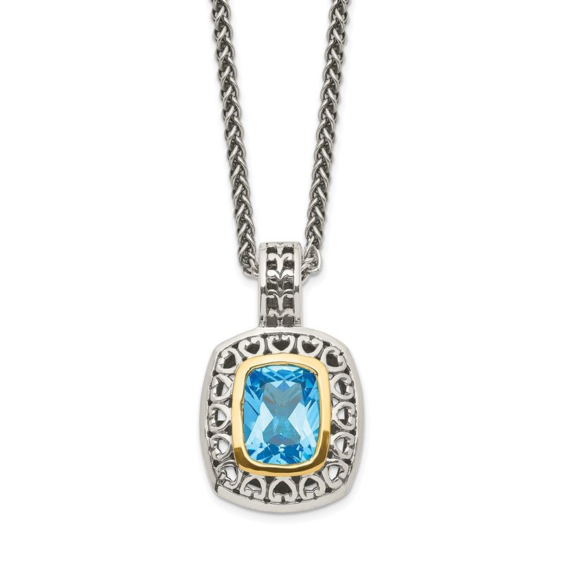Quality Gold Sterling Silver w/14k Antiqued Light Swiss Blue Topaz Necklace