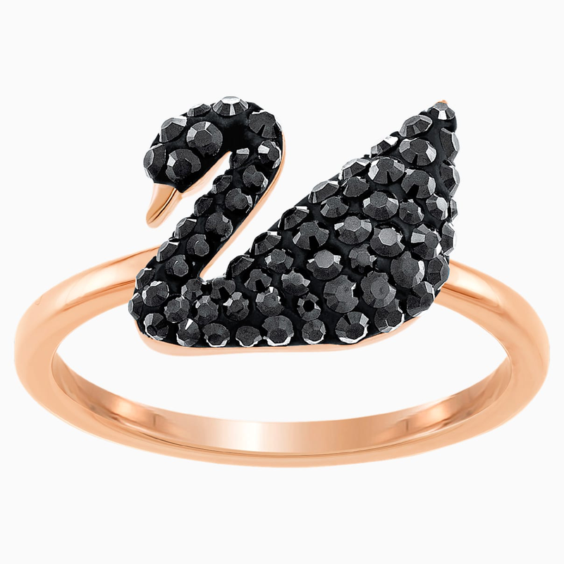 Swarovski Swarovski Iconic Swan Ring, Black, Rose-gold tone plated