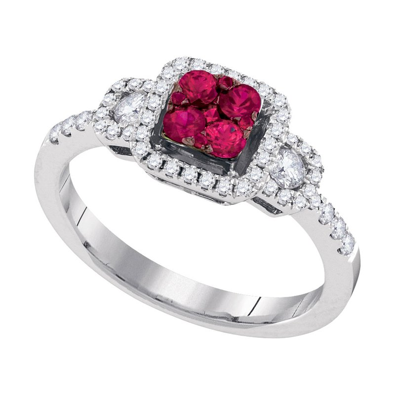 Gold-N-Diamonds 14kt White Gold Womens Round Natural Ruby Cluster Fashion Ring 5/8 Cttw