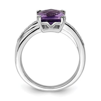 Sterling Silver Rhodium-plated Diamond and Amethyst Ring