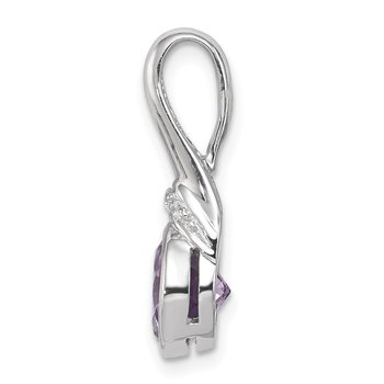 Sterling Silver Rhodium-plated w/CZ and Amethyst Pendant