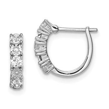 Sterling Silver Rhodium-plated White Topaz & Diamond Earrings