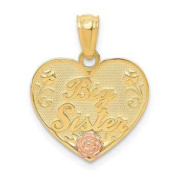 14k Two-tone Big Sister Heart Pendant