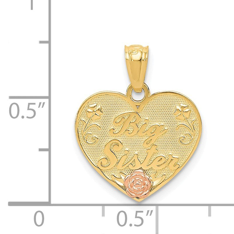 Quality Gold 14k Two-tone BIG SISTER Heart Pendant