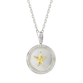 "Sterling Silver and 14K Yellow Starfish Sanddollar Pendant 3/4"" diameter"