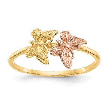 14k Two-Tone Polished Butterfly Ring