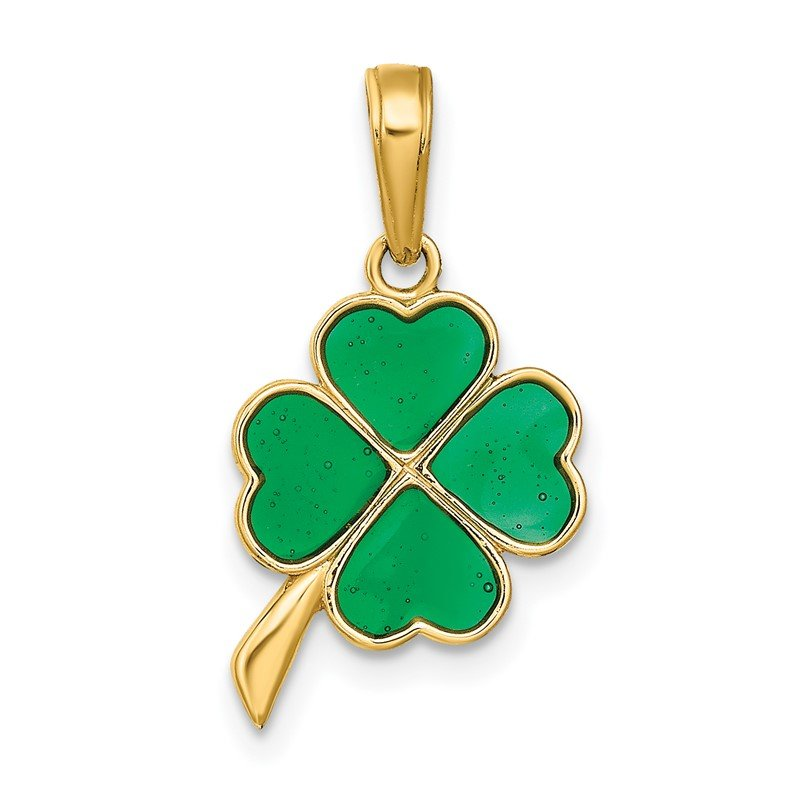 Quality Gold 14K 4-Leaf Clover Enameled Pendant