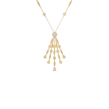 18Kt Gold Tassel Necklace With Diamond Stations