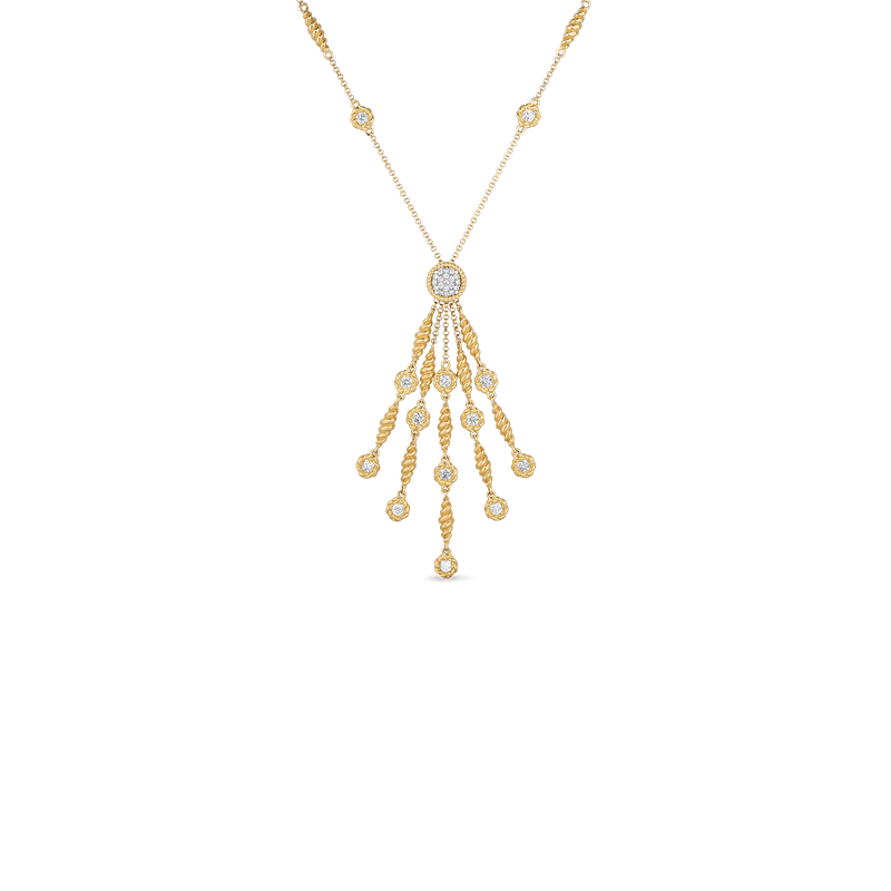 Roberto Coin 18Kt Gold Tassel Necklace With Diamond Stations