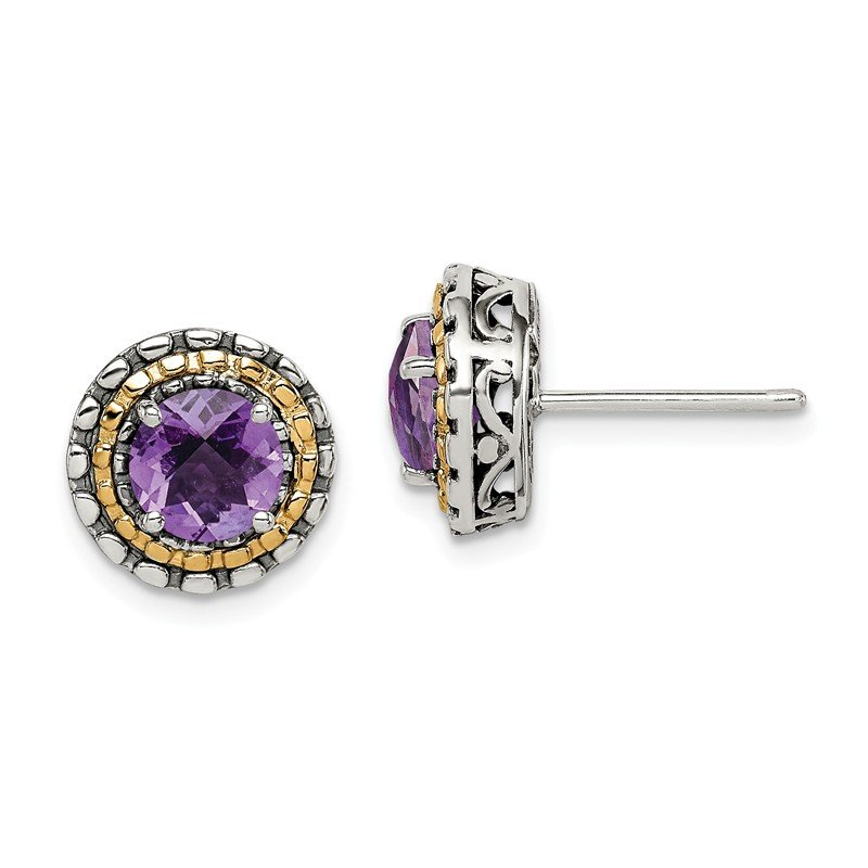 Shey Couture Sterling Silver w/ 14k Polished Amethyst Earrings